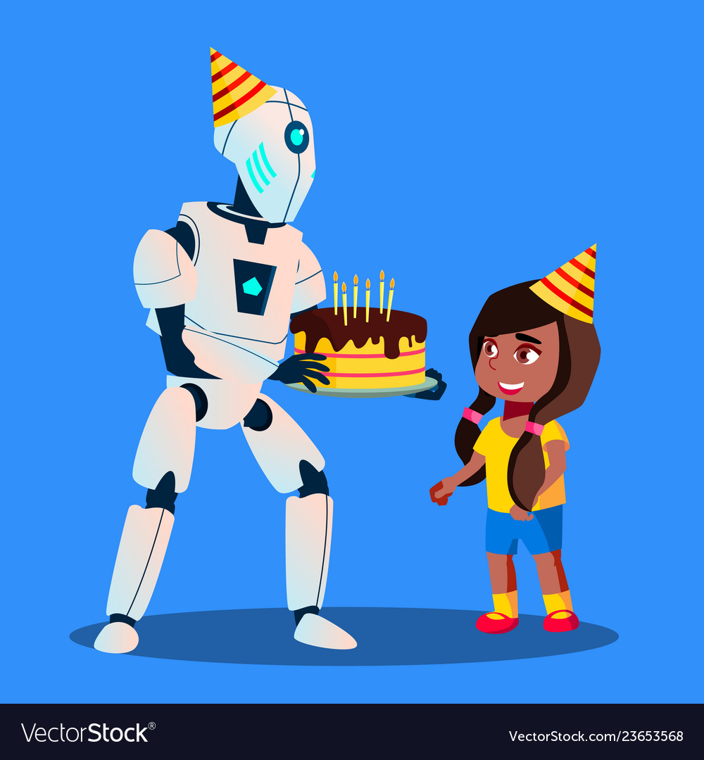 Wondrous Robot With Birthday Cake In Hands At Celebration Vector Image Funny Birthday Cards Online Alyptdamsfinfo