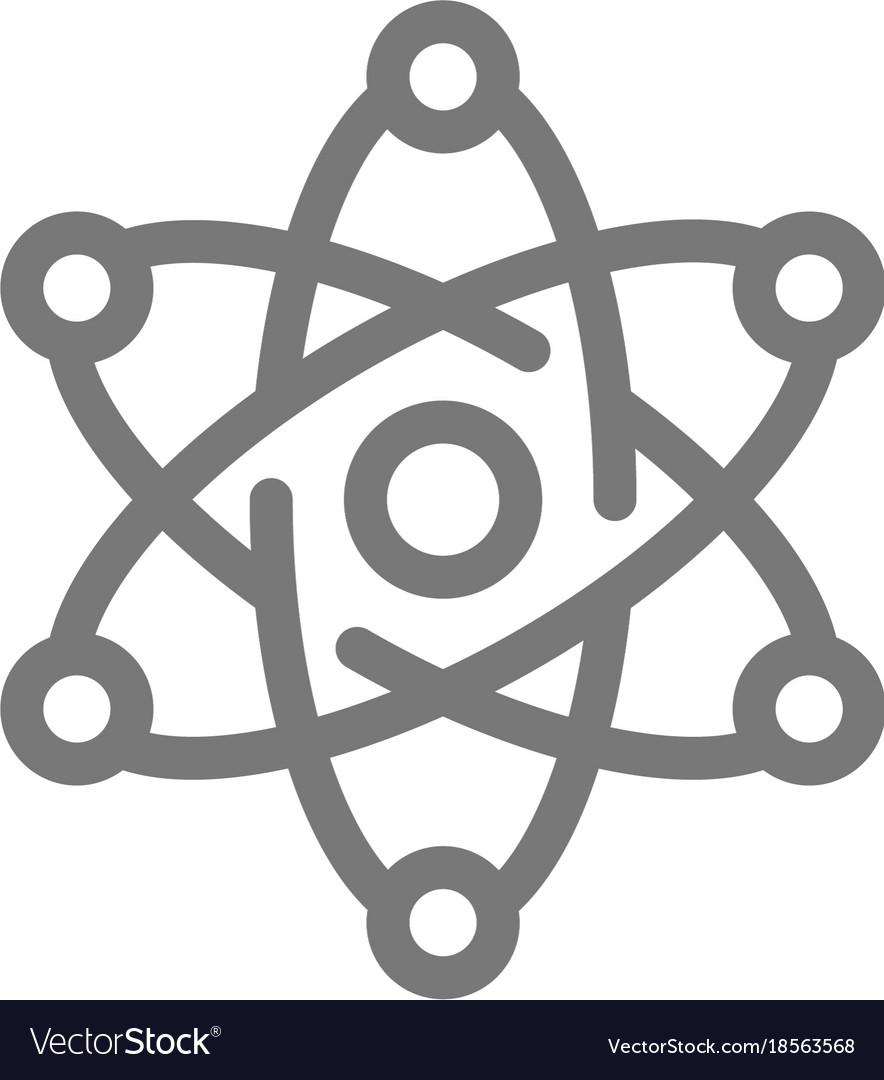 Simple atom and molecule line icon symbol and