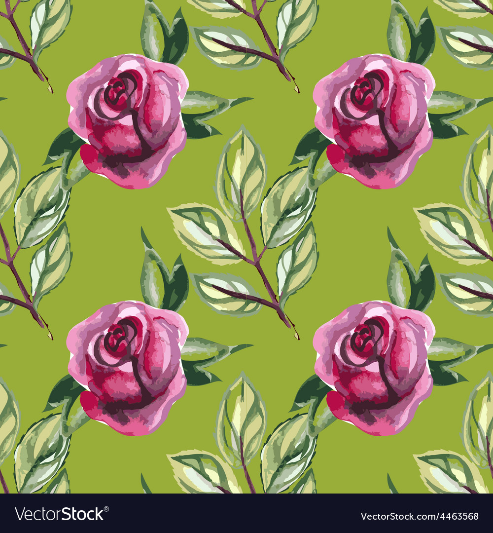 Watercolor seamless pattern with roses and leaves