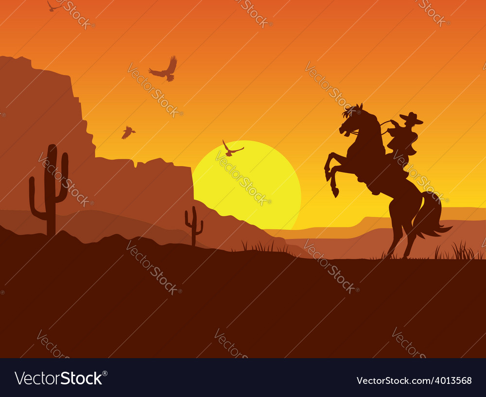 Wild west american desert landscape with cowboy on