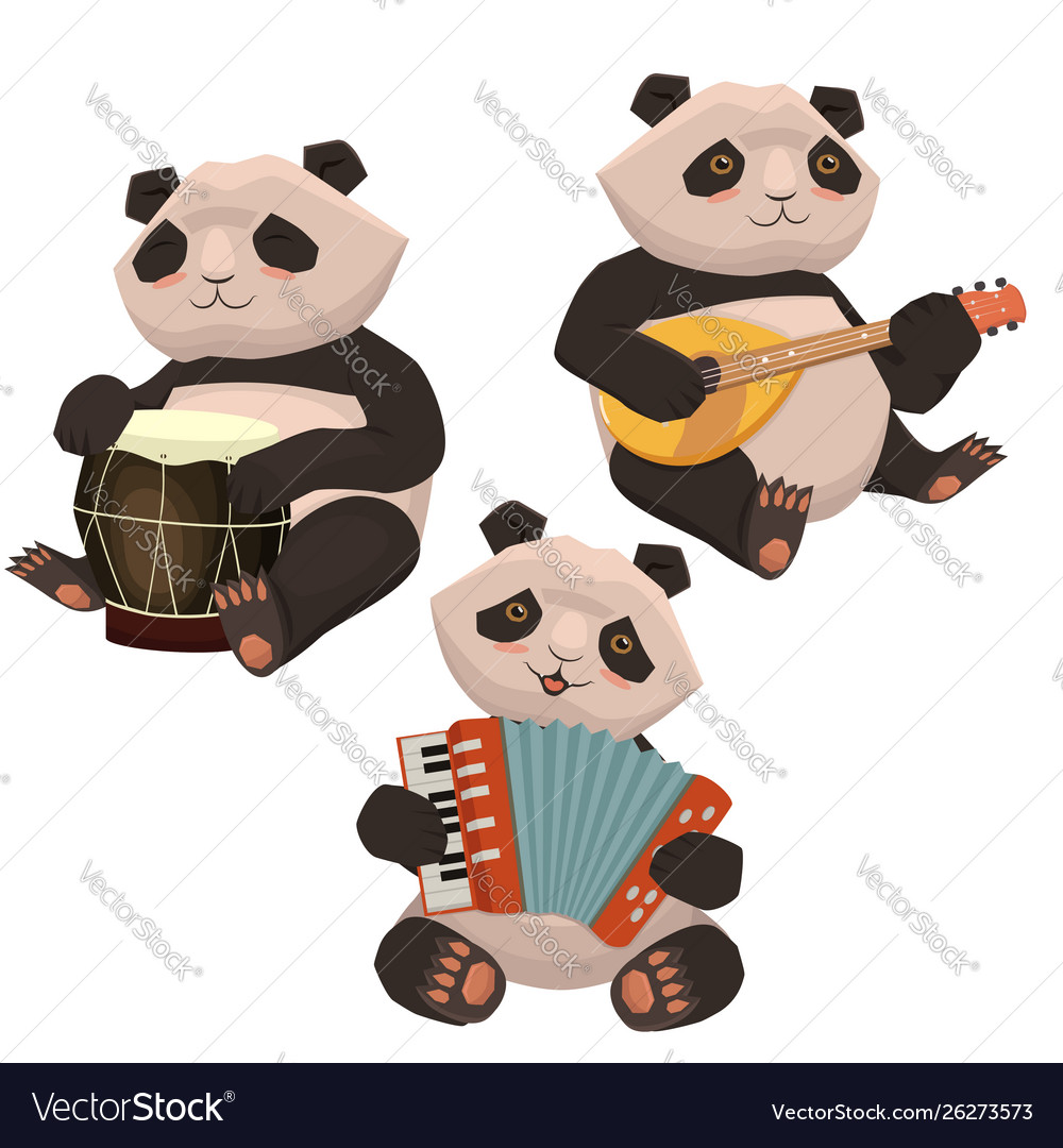 A set pandas playing musical instruments image