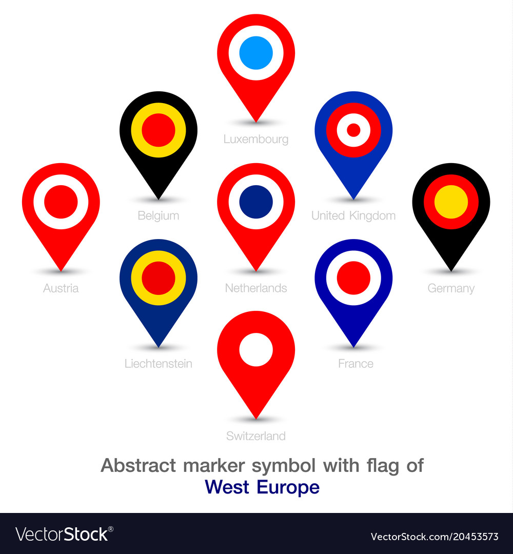 Abstract Marker Symbol With Flag Of West Europe Vector Image