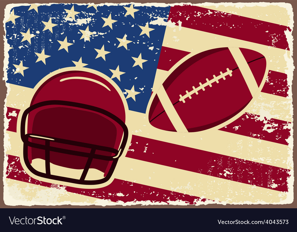 American football label with helmet and flag