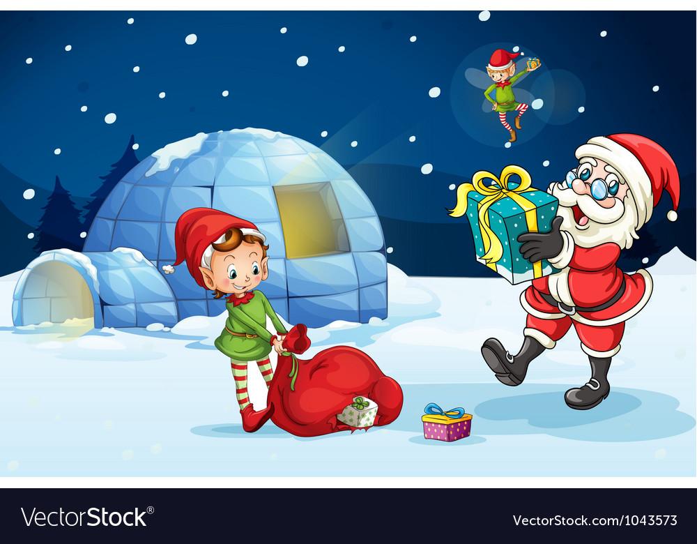 Christmas Santa Igloo vector image