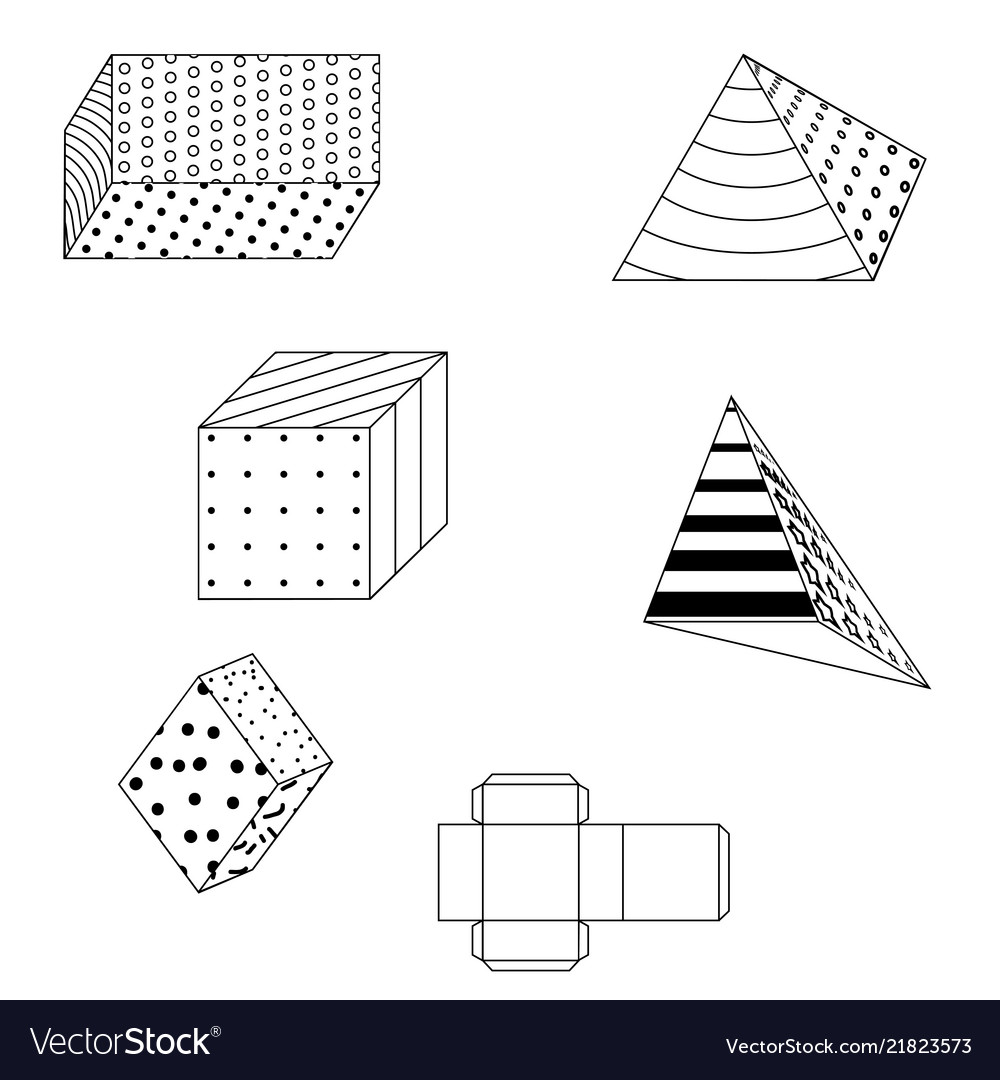 Colored simple geometric shapes on white