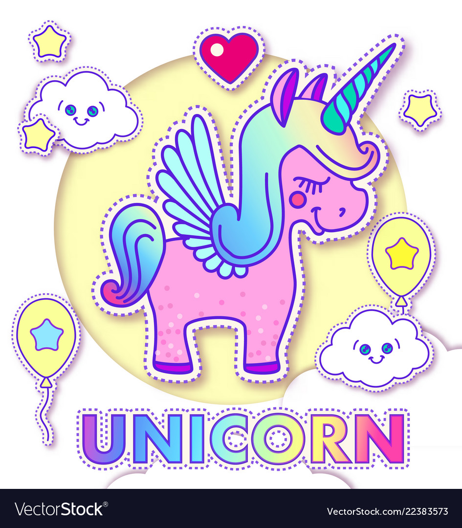 Cute Greeting Cards With Magic Unicorn Royalty Free Vector