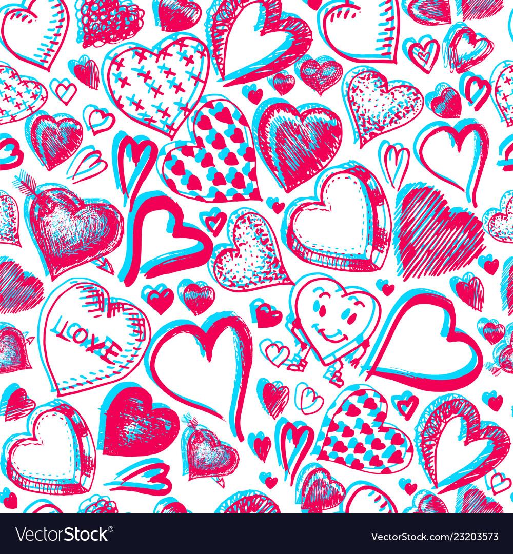 Hearts seamless pattern doodle valentine love