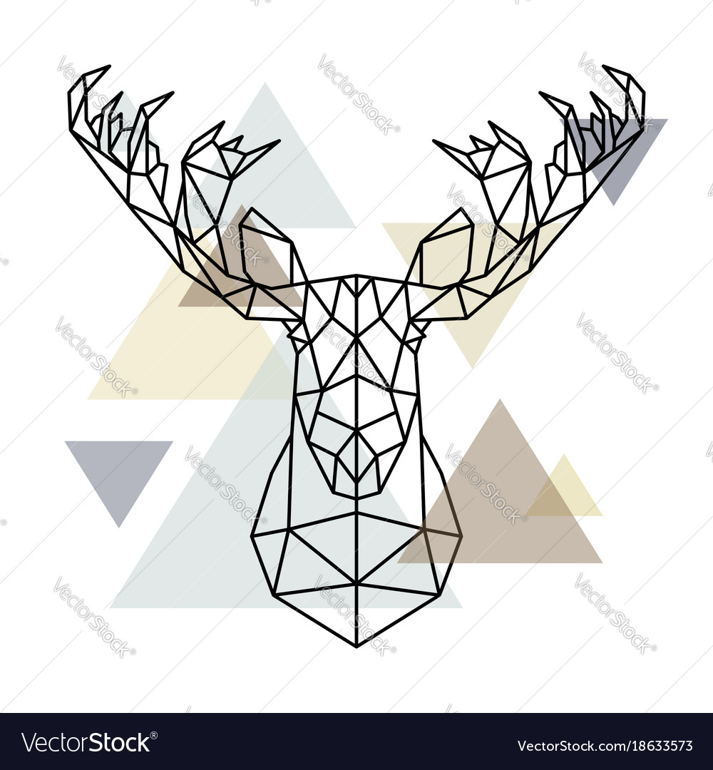 Moose head geometric lines silhouette isolated on