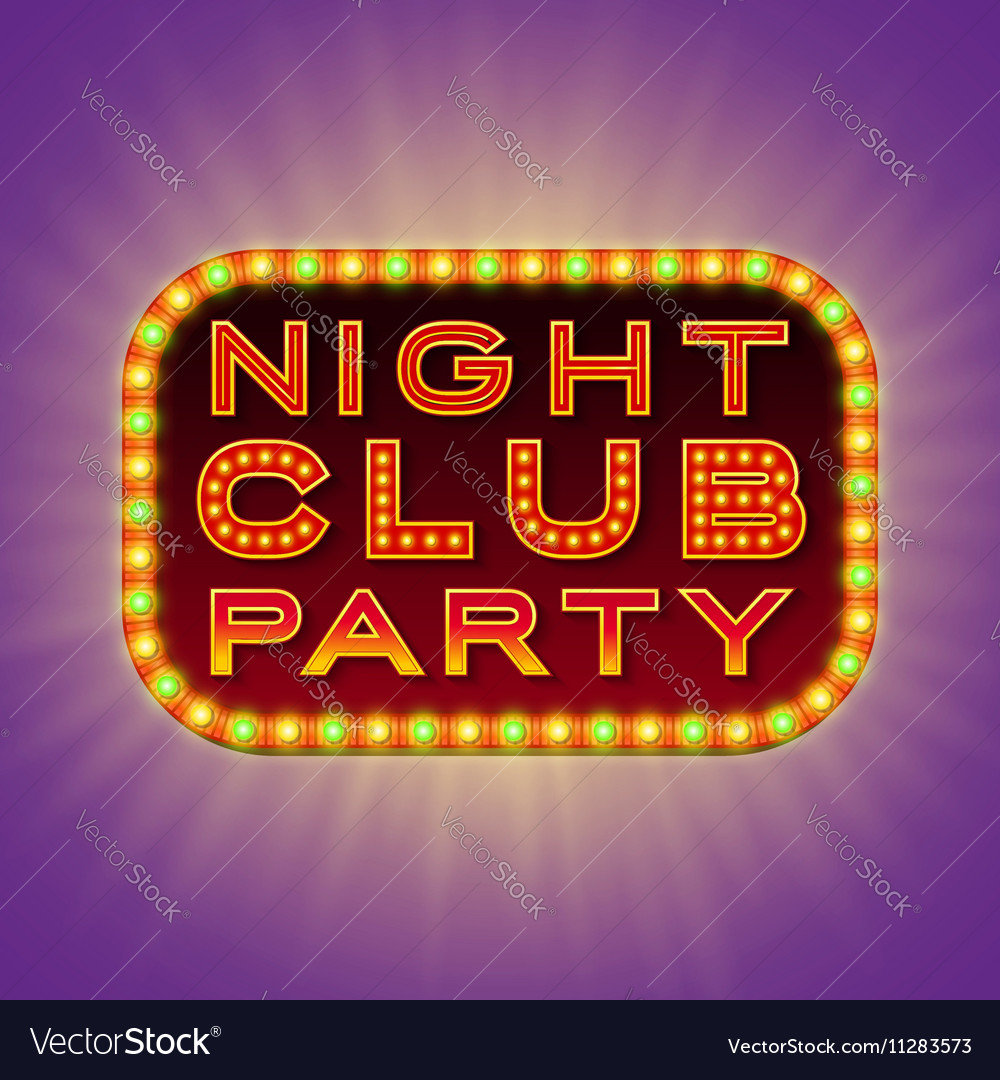 Night club party 3d retro light banner with bulbs
