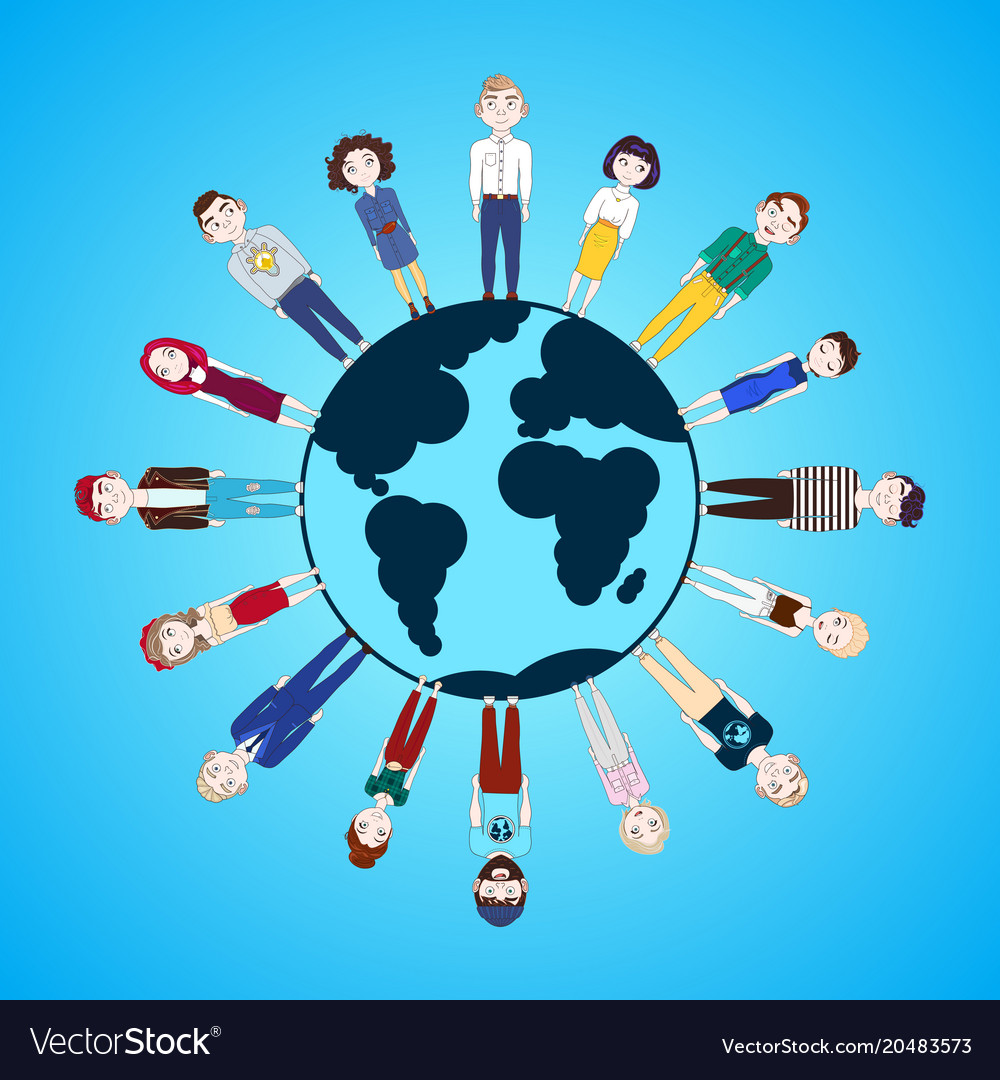 People standing around globe isolated on blue