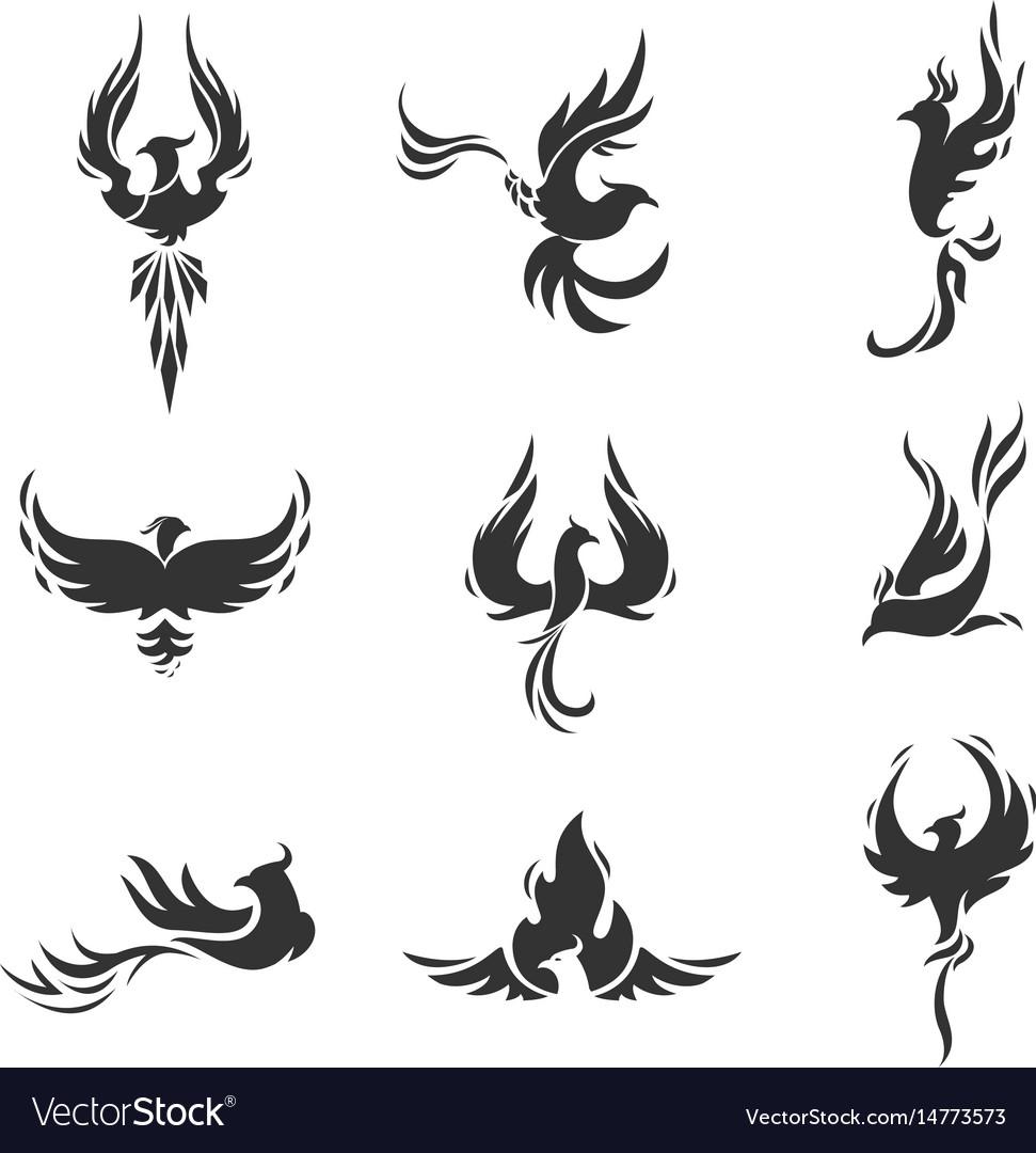 Phoenix bird stylized icons on white background