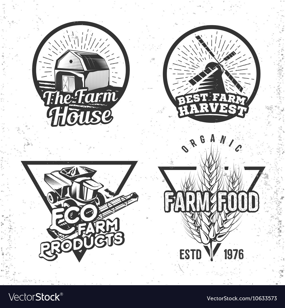 Set of logos farmhouse concepts Labels in retro