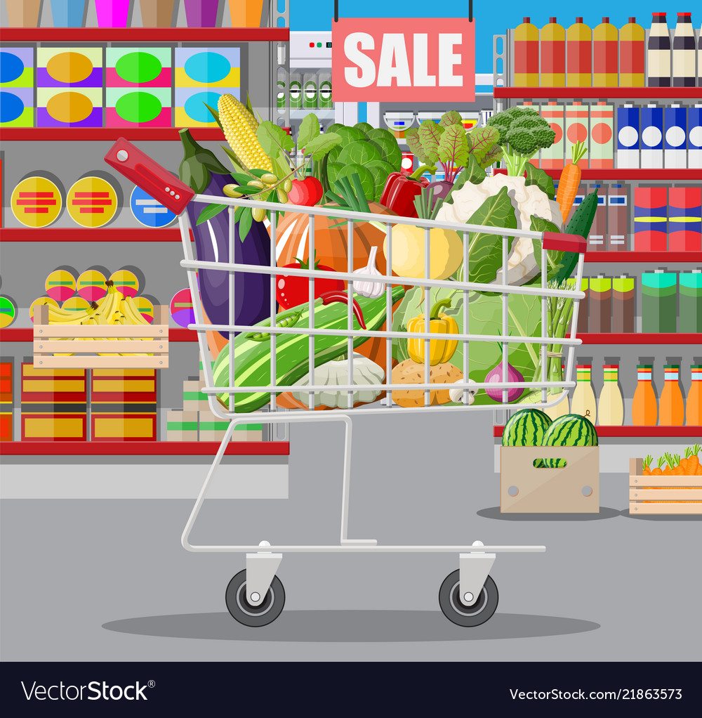 Supermarket store interior with vegetables