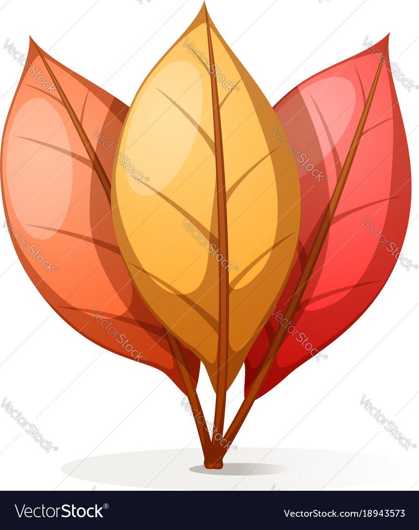Yellow orange red cartoon leaf