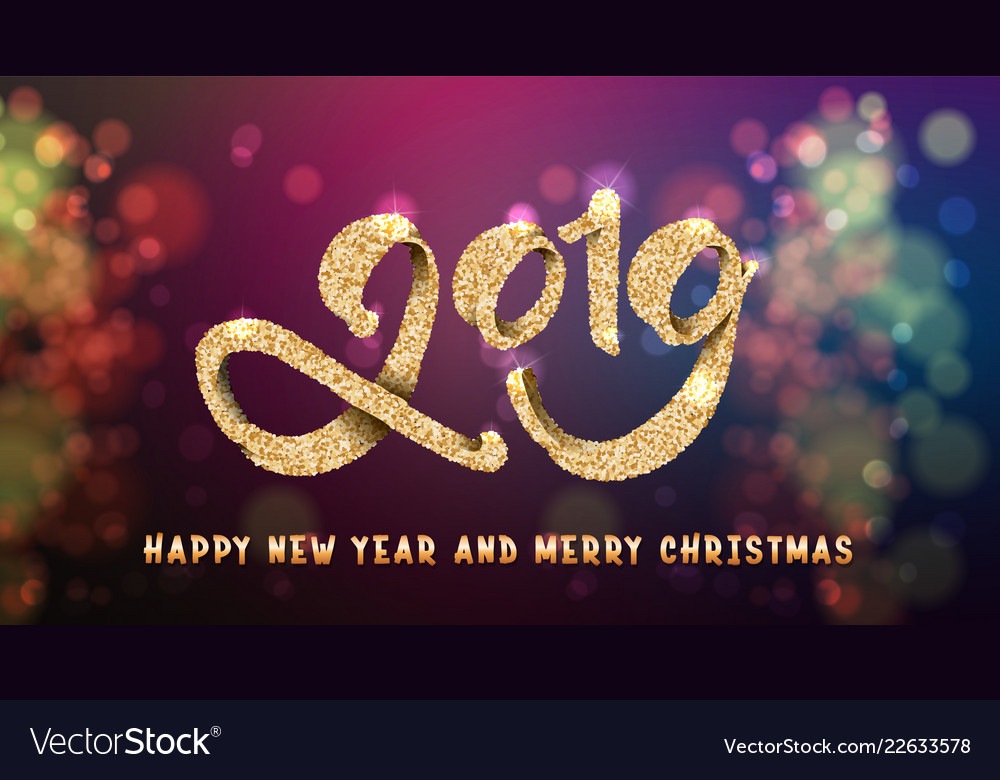 2019 festive inscription in gold on the background