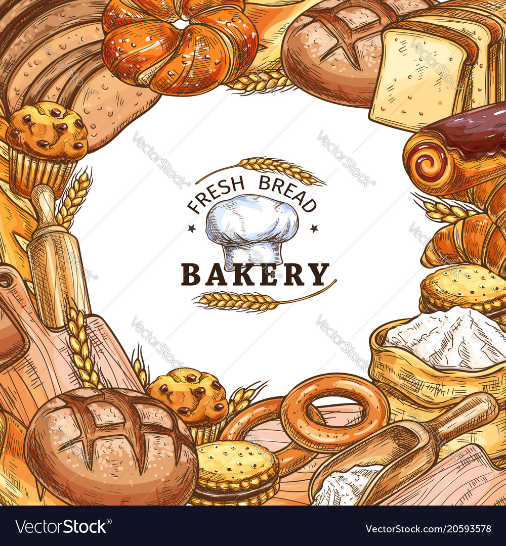 Bakery shop poster with bread sweet pastry sketch