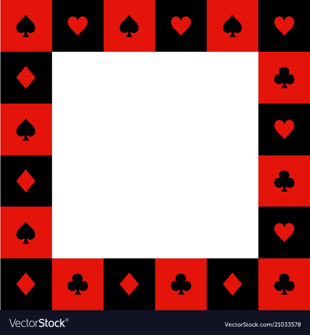Card suits red black white chess board border2