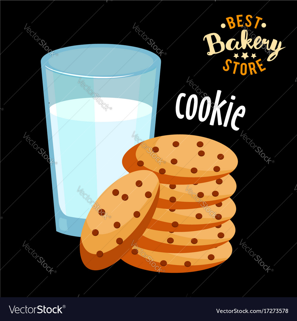Chocolate chip cookies and glass of hot milk