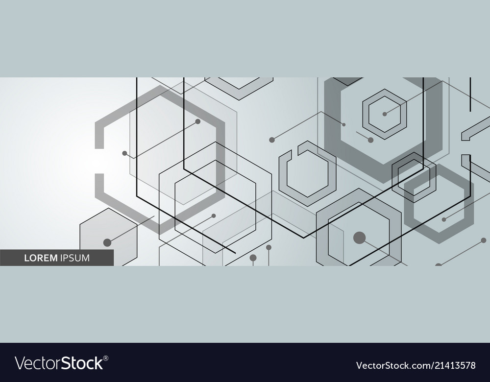 Connected hexagon banner design
