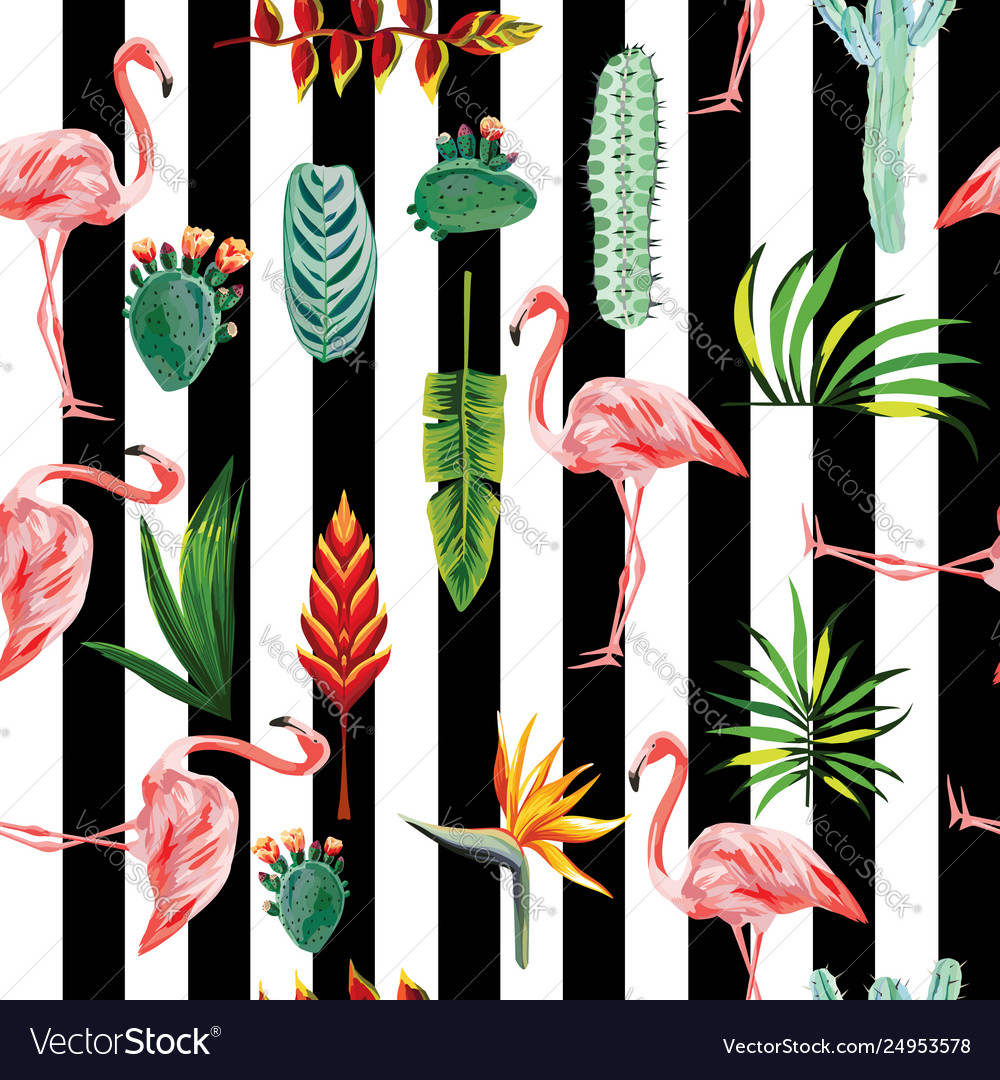 Flamingo leaves flowers seamless striped