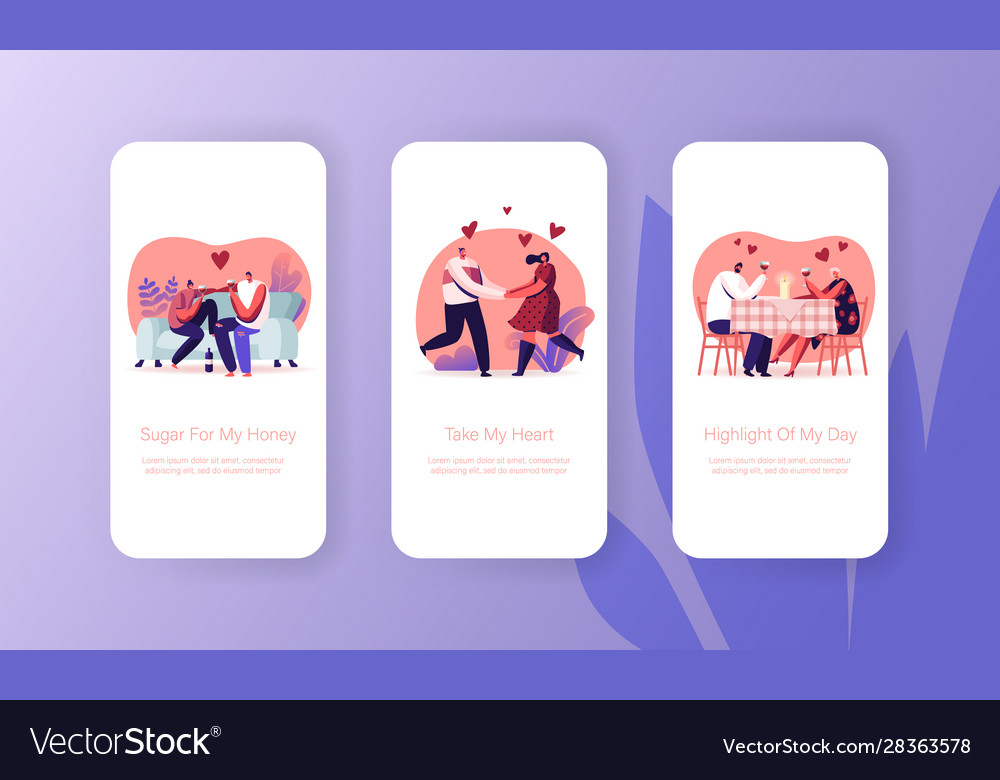Happy loving couple dating mobile app page onboard