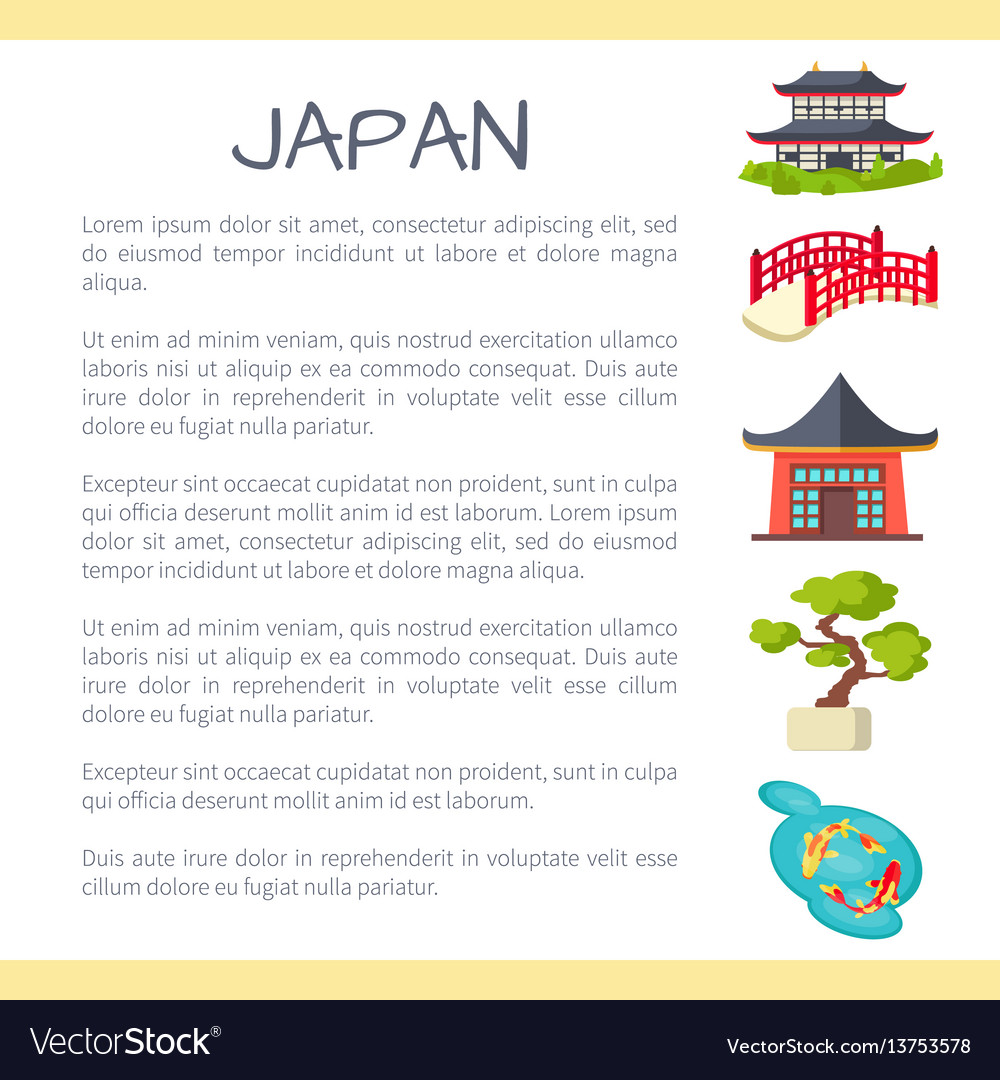 Japan touristic concept with sample text