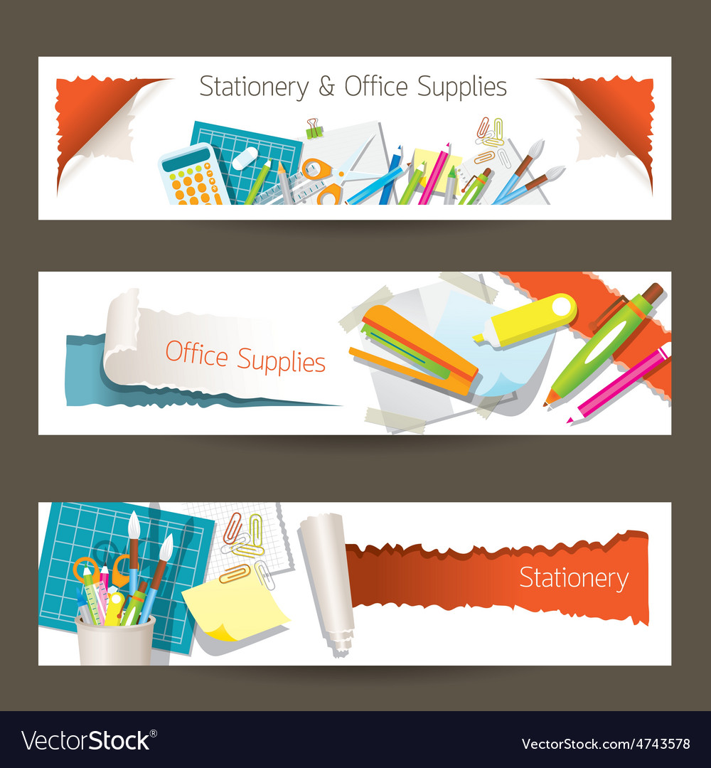 Office and Stationery Supplies Objects Banner vector image