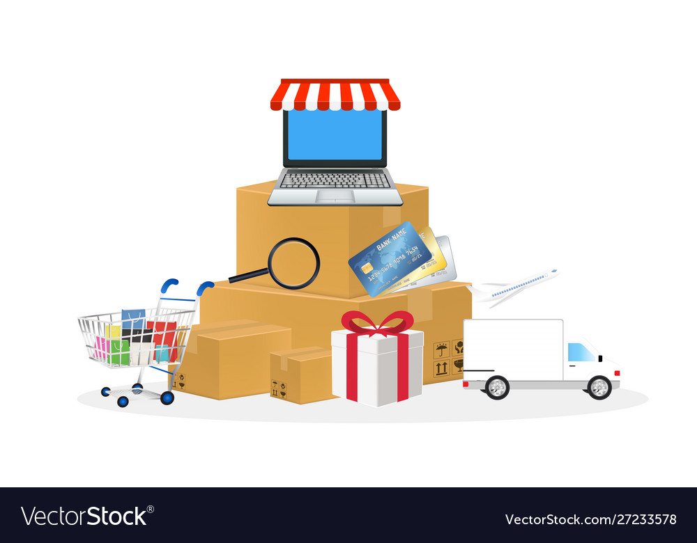 Online store object with shopping cart box laptop