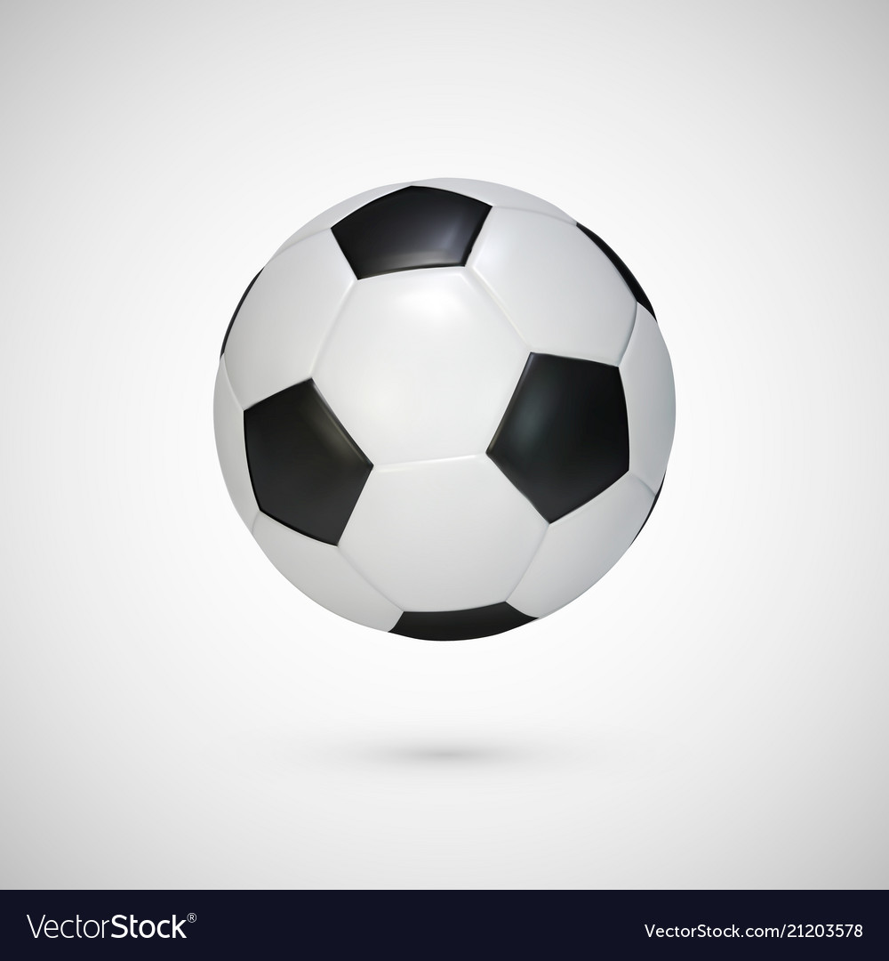 Realistic soccer ball black and white classic