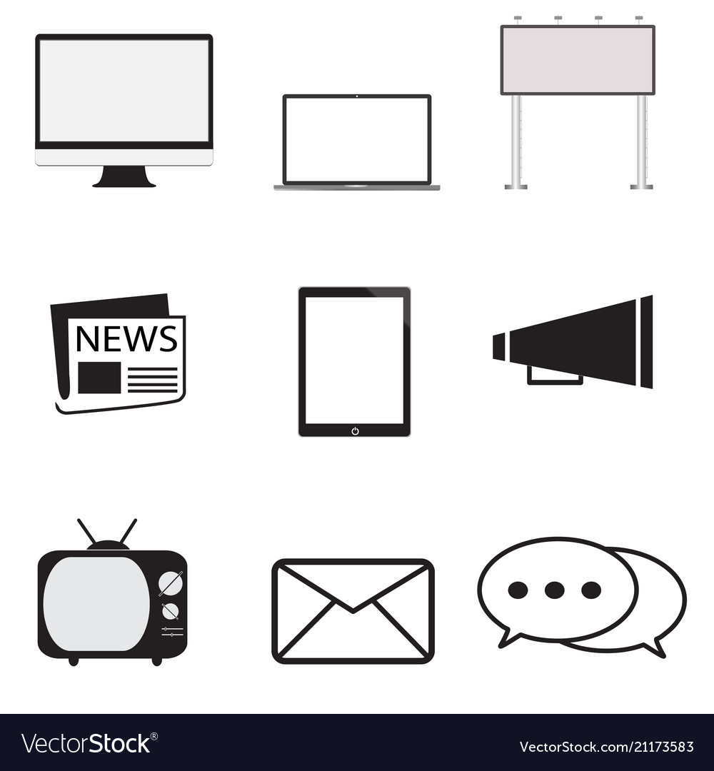 Advertisement icons set in trendy flat style on