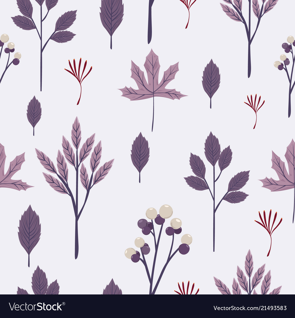 Autumn leaves seamless pattern in purple toned