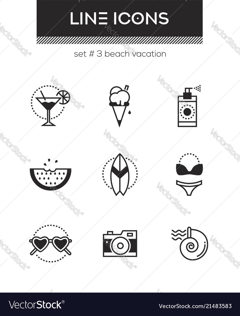 Beach vacation - set of line design style icons