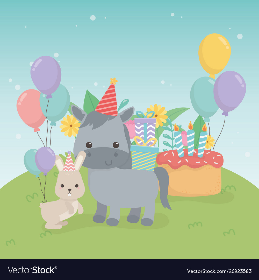 Cute hors and rabbit in birthday party scene