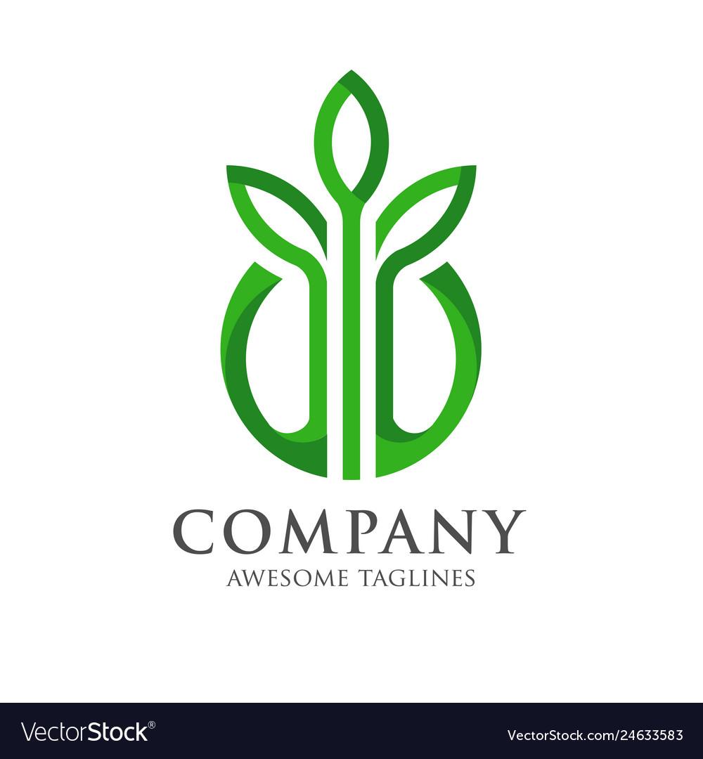 Design shape leaf logo and circle green color