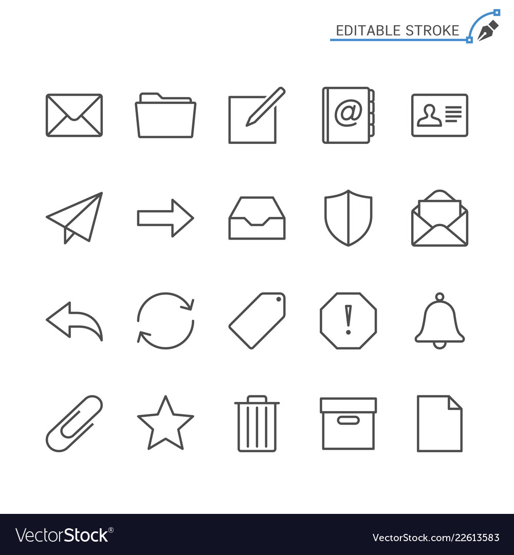 Email line icons editable stroke
