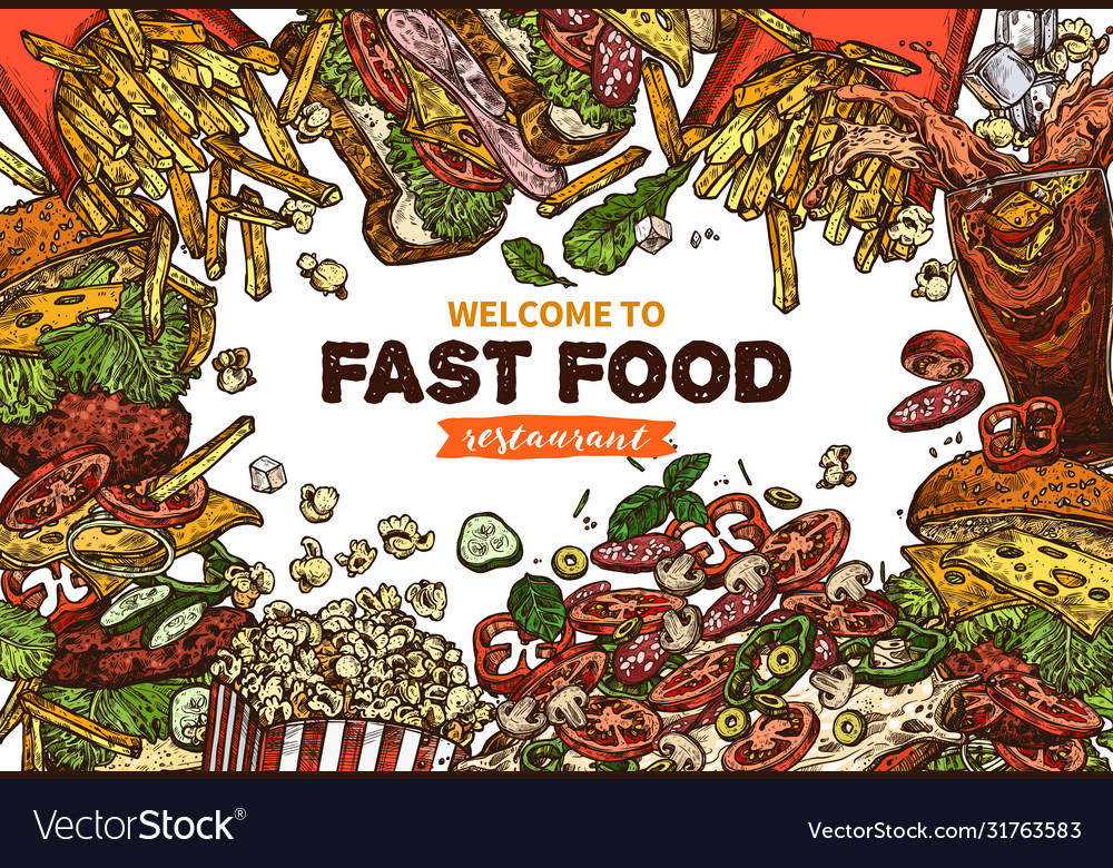 Fast food background with flying products