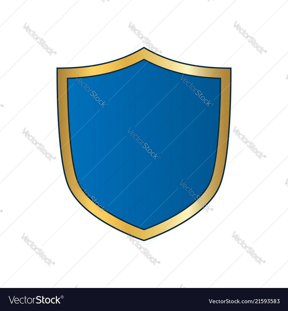 Gold-blue shield shape icon bright logo emblem