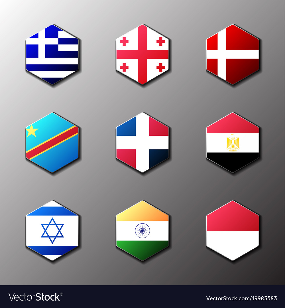 Hexagon icon set flags of the world with official