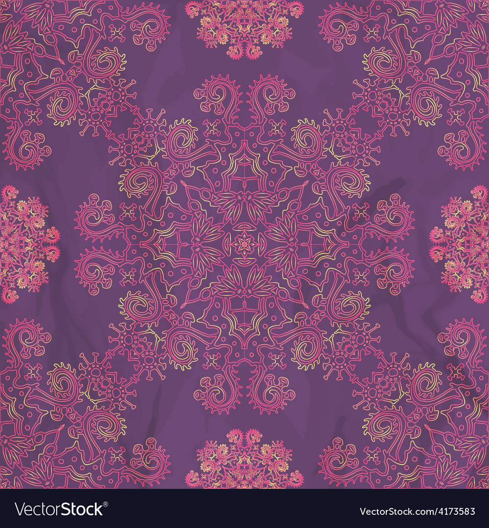 Ornamental seamless pattern on purple texture