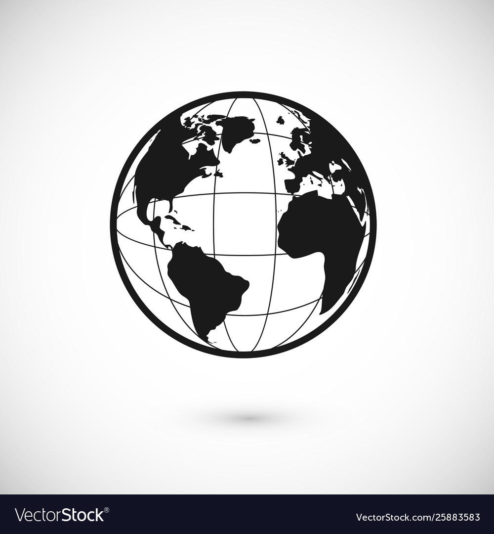 Planet icon for app or web earth sign or world