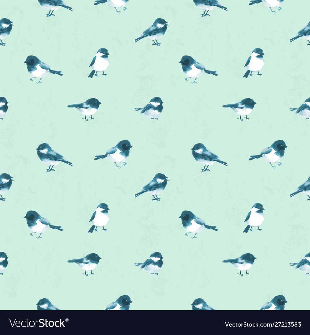 Seamless pattern with little birds haned drawn