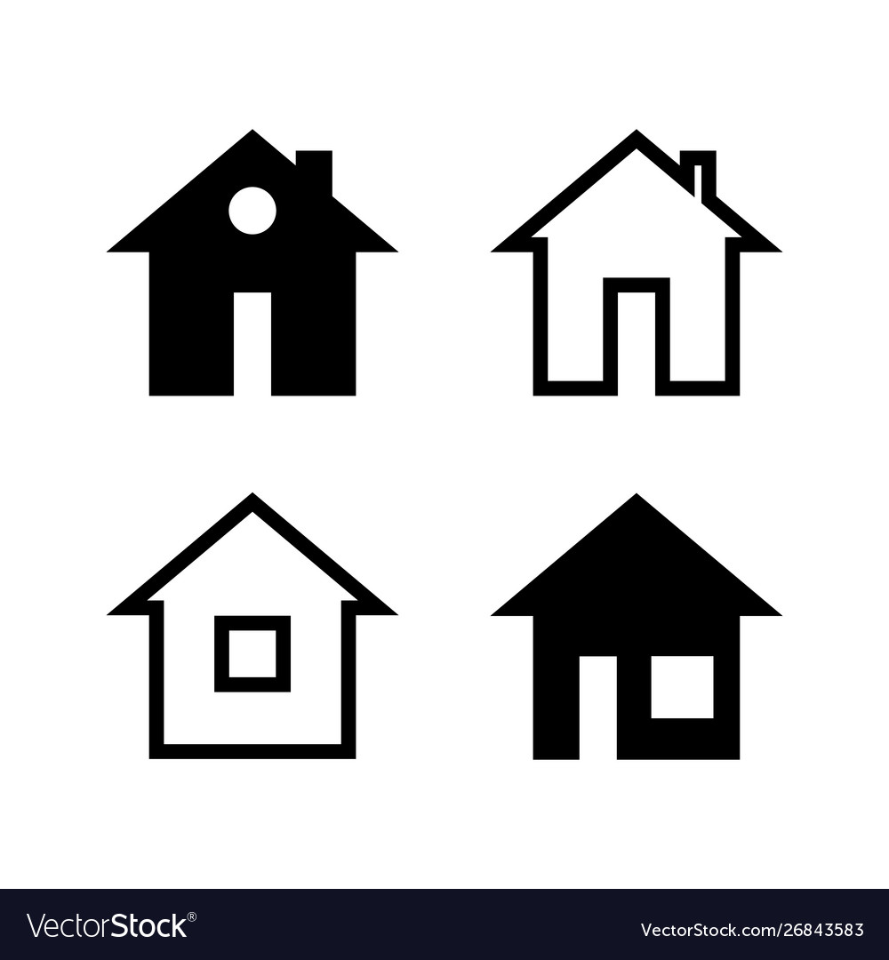 Simple black and white house icons