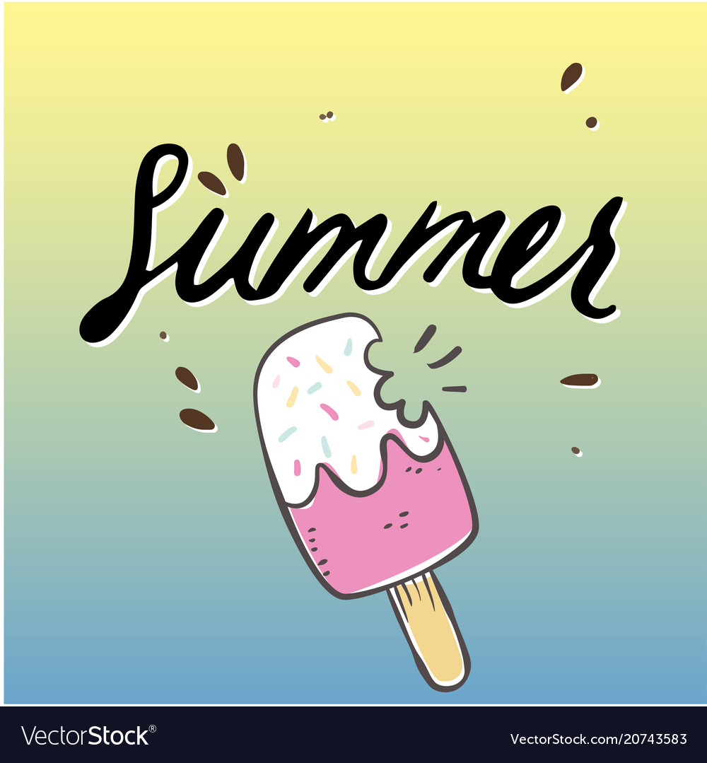 Summer ice cream with bite colorful background vec