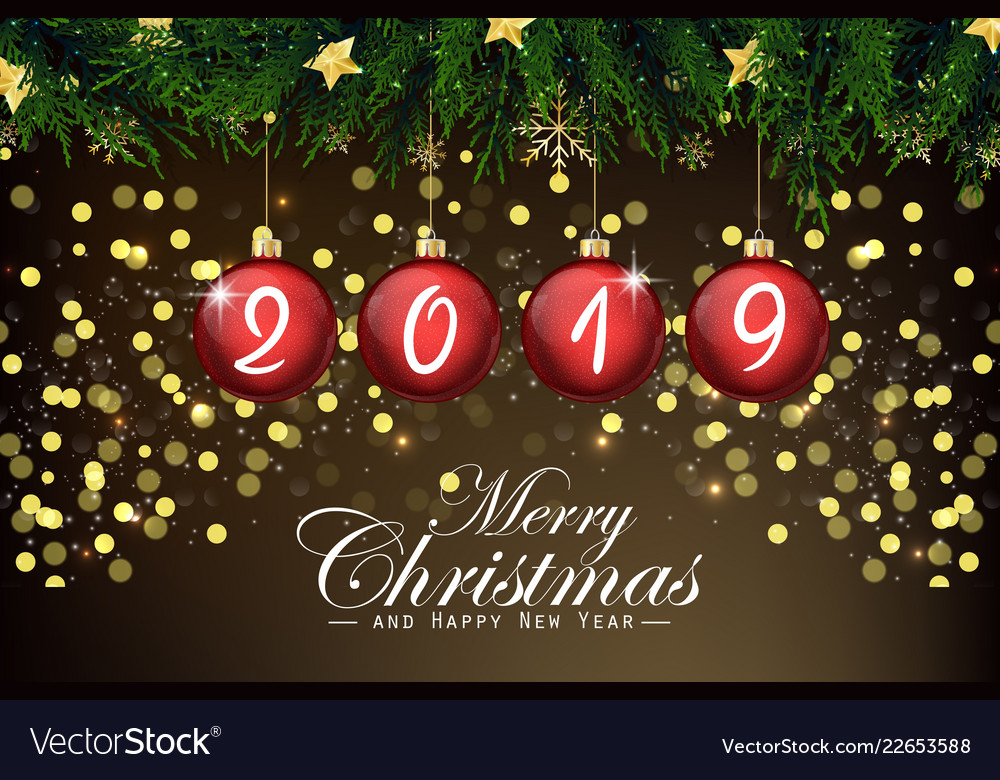 2019 new year card with red christmas balls