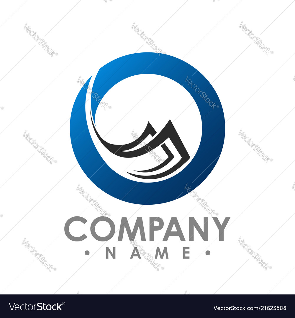 Abstract circle and flying stack papers logo