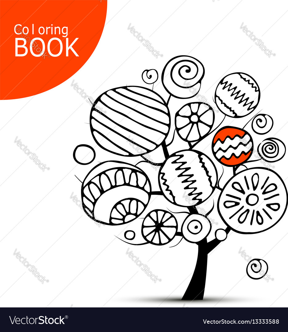 Abstract tree with circles sketch for your vector image
