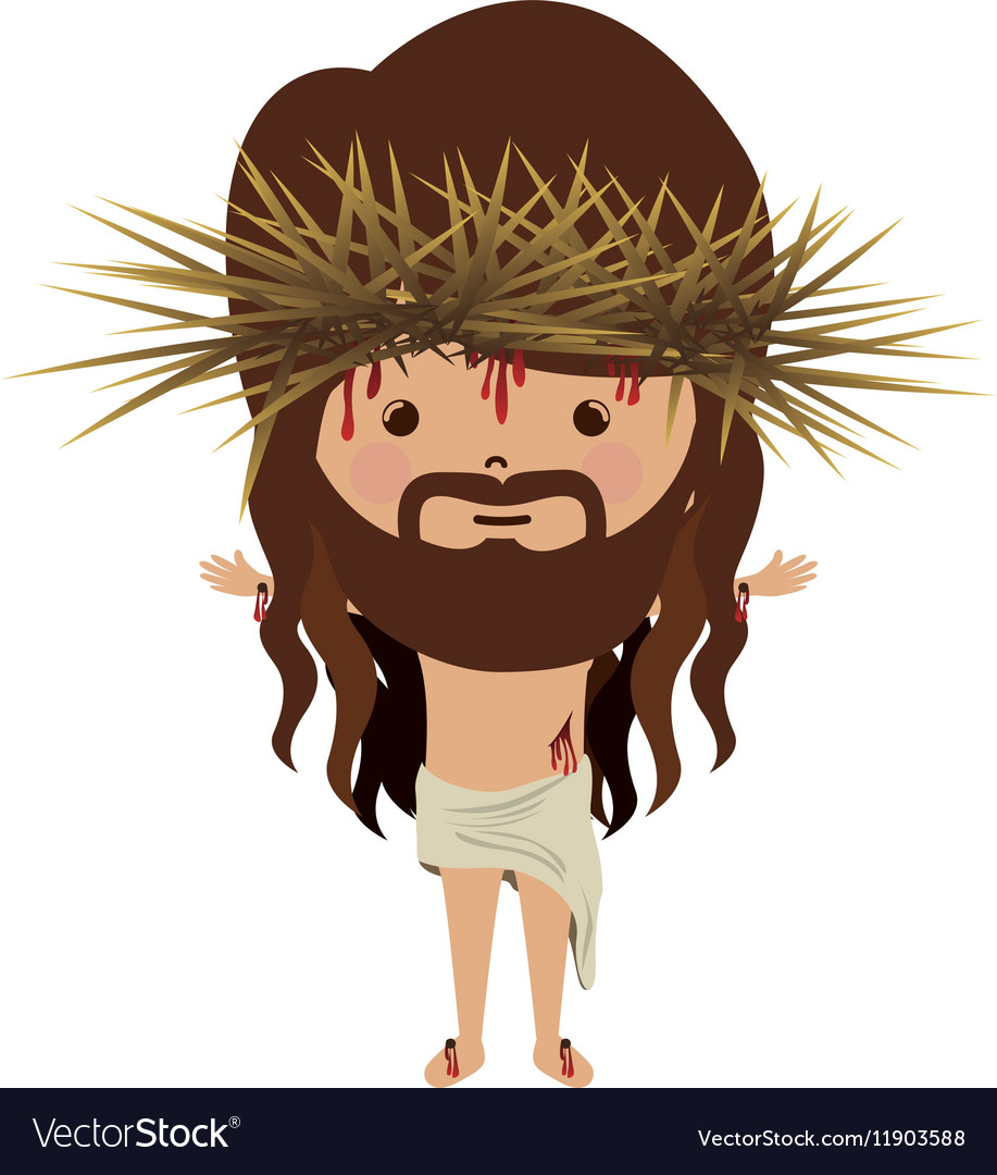 Avatar jesus christ with crown thorns and bood vector image
