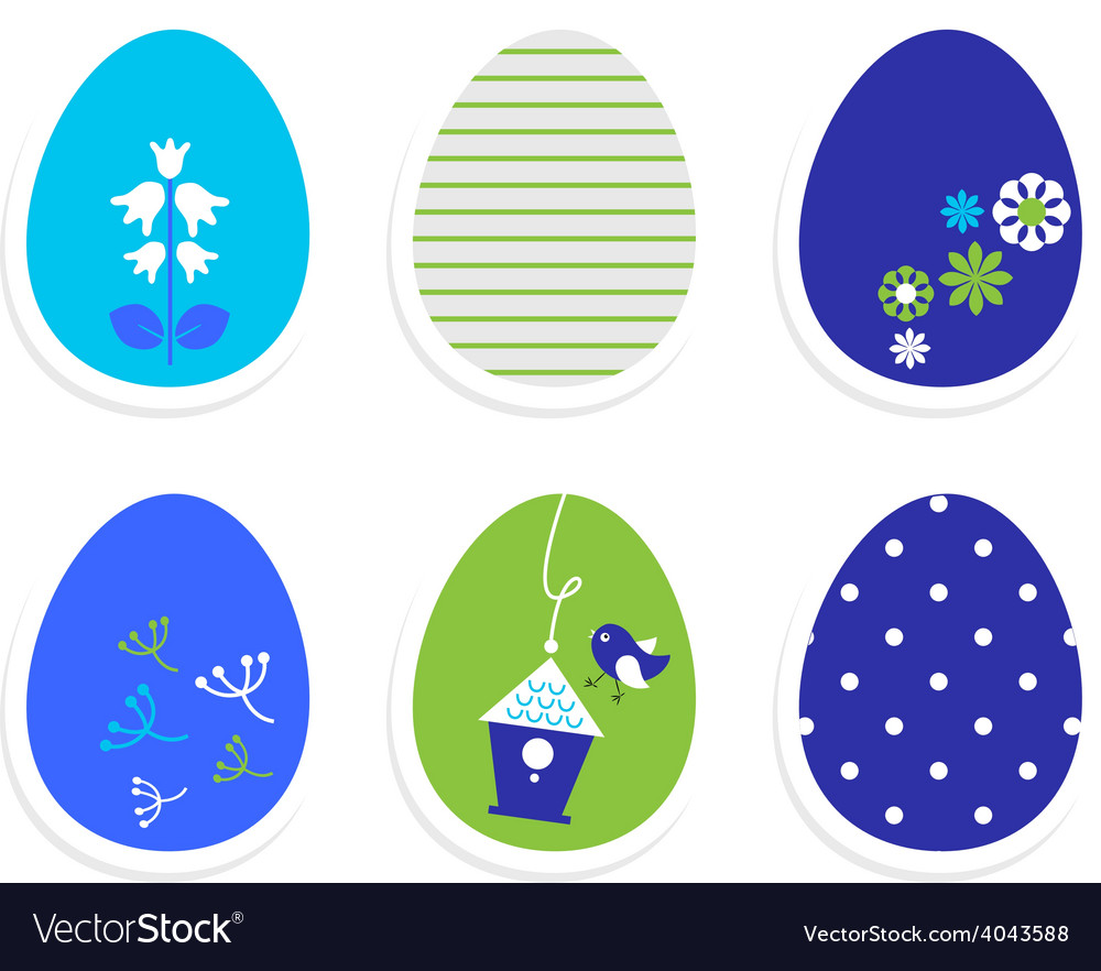 Beautiful cute easter eggs isolated on white