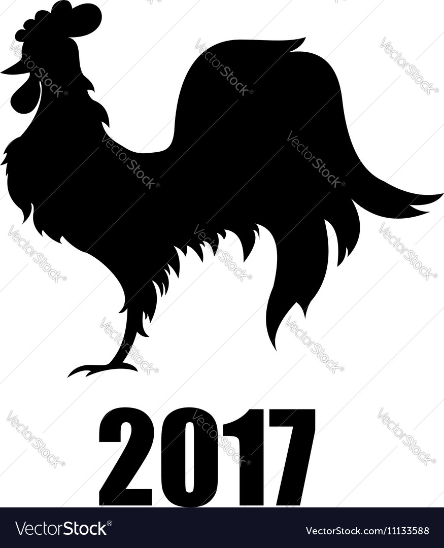 Black silhouette rooster