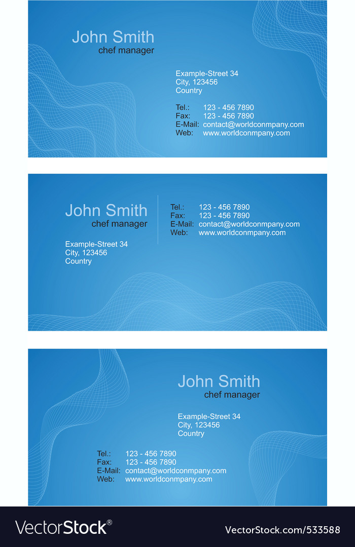 Business cards blue set